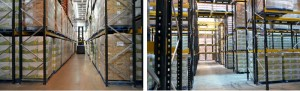 Narrow Aisle Pallet Racking showing VNA Truck