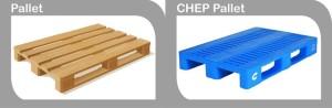 A standard Pallet next to a CHEP Pallet