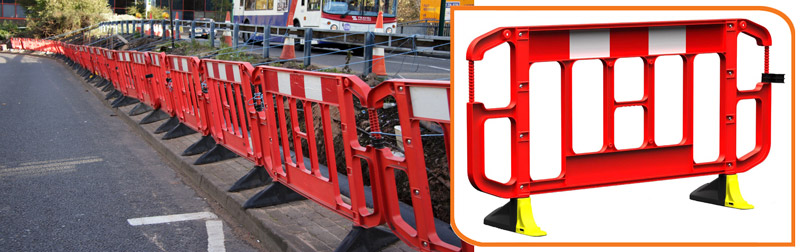 2 metre Stacking Barrier shown protecting on-going roadworks from vandalism.