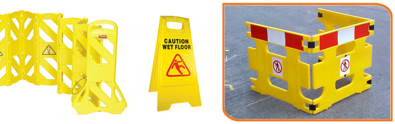 A selection of Spillage and Maintenance Safety Barriers. form left to right: Indoor Portable Barrier, A-Frame floor sign and Handi-Guard (For general maintenance).