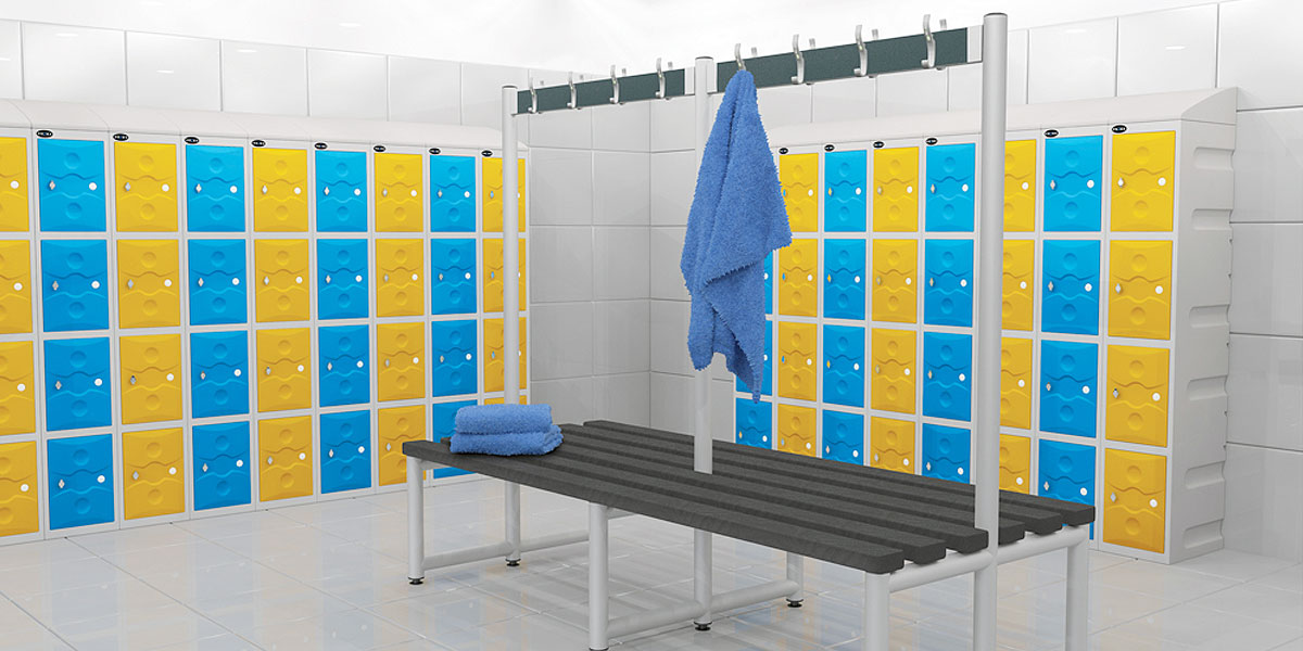 Plastic School Lockers in a changing room setting - Sturdy and no rust!