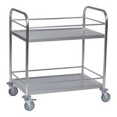 Stainless Steel Wine Trolley - 2 Shelves