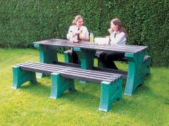Table Set with Benches, Emerald uprights with black struts