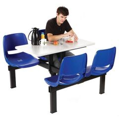 4 Seater Canteen Units - Blue Seats - Double Entry