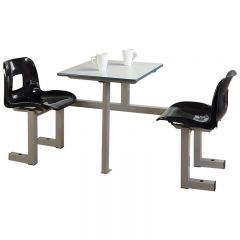 2 Seater Commercial Canteen Unit - Charcoal seats
