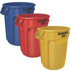 3 x 121.1 Litre Brute Containers, Yellow, Red, Blue
