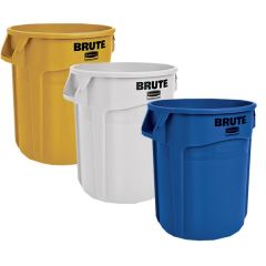 3 x 75.7 Litre Brute Containers, Blue, White, Yellow