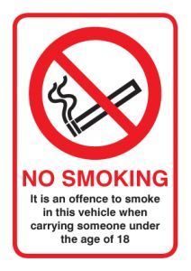 No Smoking in vehicle with under 18