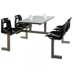 4 Seater Canteen Unit- Dual Entry - Charcoal seats
