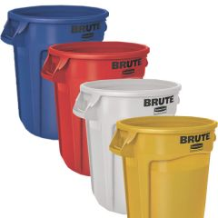 4 x 121.1 Litre Brute Containers, Yellow, Red, Blue, White