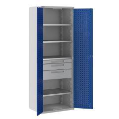 ToolStor 4 Shelf & 3 Drawer Kitted Cupboard - Blue Doors