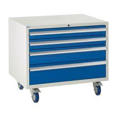 Under Bench Euroslide Mobile Cabinet - 4 Drawers, 3 Sizes