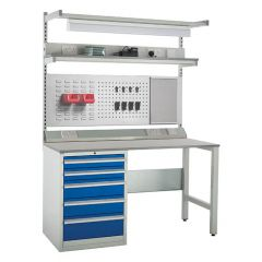 System Tek Kit E - Laminate Top, 5 Drawer Blue + Accessories