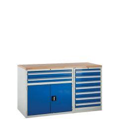 System Tek - Blue Double Cabinet Kit C Beech worktop