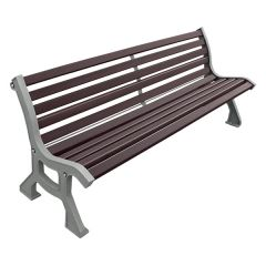 Wood Bench with cast steel frame