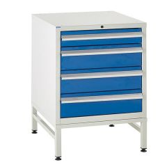 600 Euroslide Cabinet on Stand - 4 Drawers - 3 x 150mm - Blue