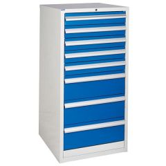 600 XL Euroslide 8 Drawer Cabinet - 5 x 100mm - Blue