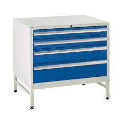 900 Euroslide Cabinet on Stand - 4 Drawers - Blue