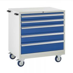 900 Euroslide Mobile Cabinets - 5 Drawers (2x 100mm Drawers).