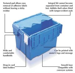 Attached Lid Container for Storage and Distribution