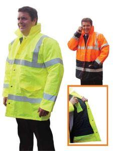 De Luxe Hi Visibility Jacket - Class 3 - Flannel Liner