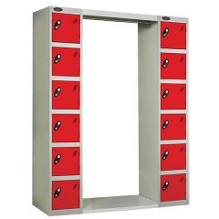 Probe Archway Lockers - 12 Compartments - Type A - Red Doors