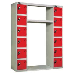 Probe Archway Lockers - 12 Compartments - Type B - Red Doors