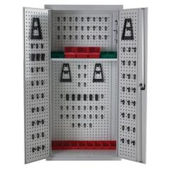 Armour Perforated Tool Cupboard - Free Standing - Light Grey