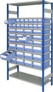 Boltless shelving Kit A with shelf trays