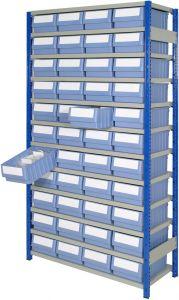Boltless shelving Kit H with shelf trays