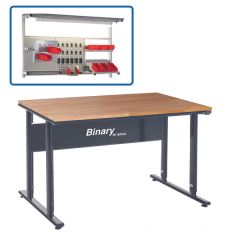Binary Height Settable Workbench - Beech Worktop - Above bench accessories available