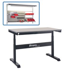 Binary Electric Height Adjustable Workbench - Laminate - above bench accessories