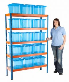 Boltless Shelving Bay with 15 Plastic Boxes