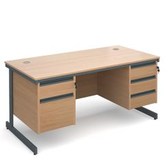 Atlanta Double Pedestal Cantilever Desk - 2/3 Drawers - W1532 - Beech