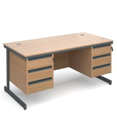 Atlanta Double Pedestal Cantilever Desk - 2x3 Drawers - W1532 - Beech