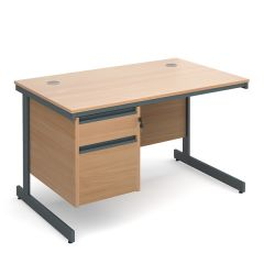Atlanta Single Pedestal Cantilever Office Desk - 2 Drawer - Beech - W 1228