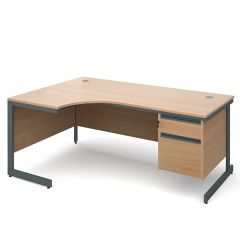 Atlanta Single Pedestal Ergonomic Desk - Left - 2 Drawer