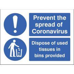 Coronavirus Sign - Dispose of Tissue