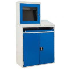 Double Door Computer Station with Monitor Holder and optional sloping top