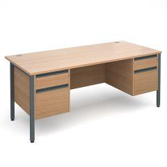 Orlando Double Pedestal Desk - 2x2 Drawer - W1800 - Beech