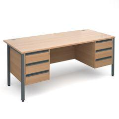 Orlando Double Pedestal Desk - 2x3 Drawer - W1800 - Beech