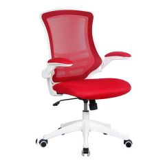 Eclipse Swivel Chair - White Frame - Red
