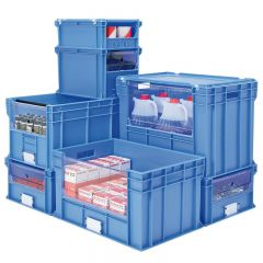 Euro Stacking Containers with View to Pick Openings Long Side