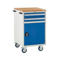 600 Euroslide Mobile Cabinets - 2 Drawer and Cupboard. Shown with optional beech top (sold separately).