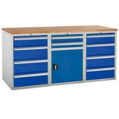 Euroslide Pedestal Bench - 1 Cupboard, 10 Drawers
