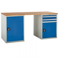 Euroslide Pedestal Bench - 2 Cupboards, 1 Drawer