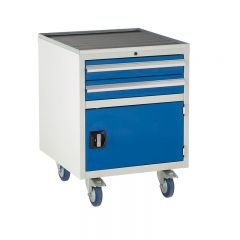 Under Bench Euroslide Cabinet - 2 Drawer 1 Cupboard. Shown with optional tool tray, sold separately.