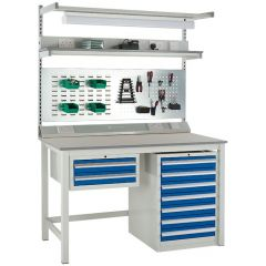 1500mm wide Euroslide Workbench shown with under and above bench accessories