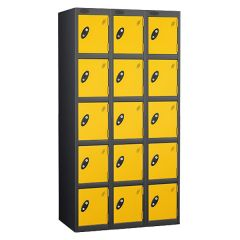 Probe Five Door Lockers - 3 Nest - Black Carcass - Yellow Door