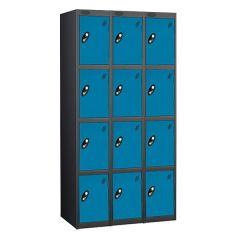 Probe Four Door Locker - 3 Nest - Black Carcass - Blue Door